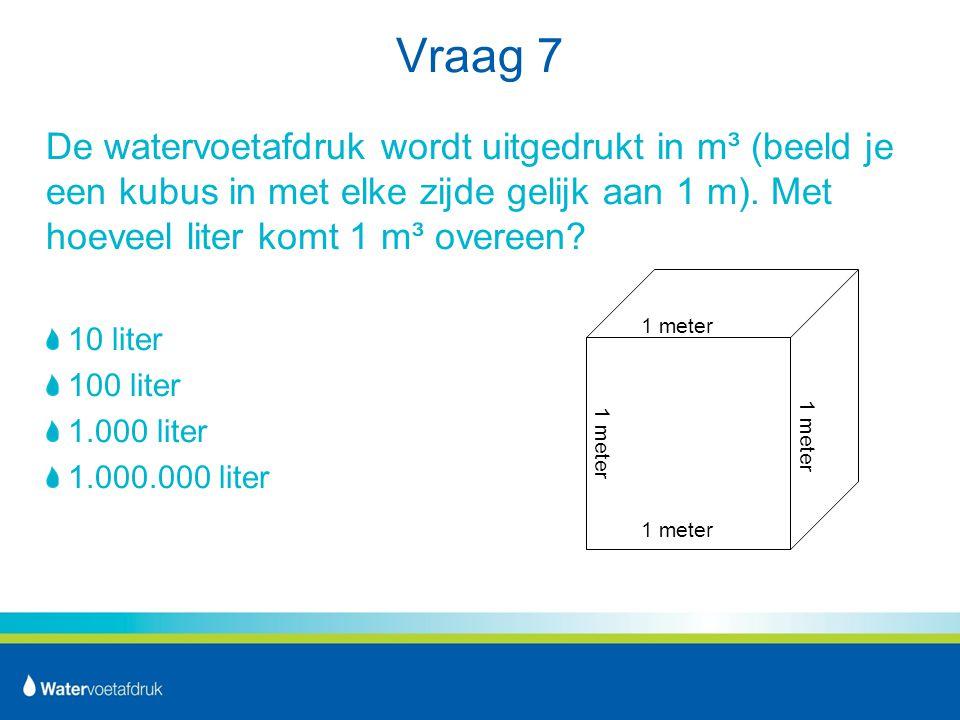 Vraag 7 De watervoetafdruk wordt uitgedrukt in m³ (beeld je een kubus in met elke zijde gelijk aan 1 m).