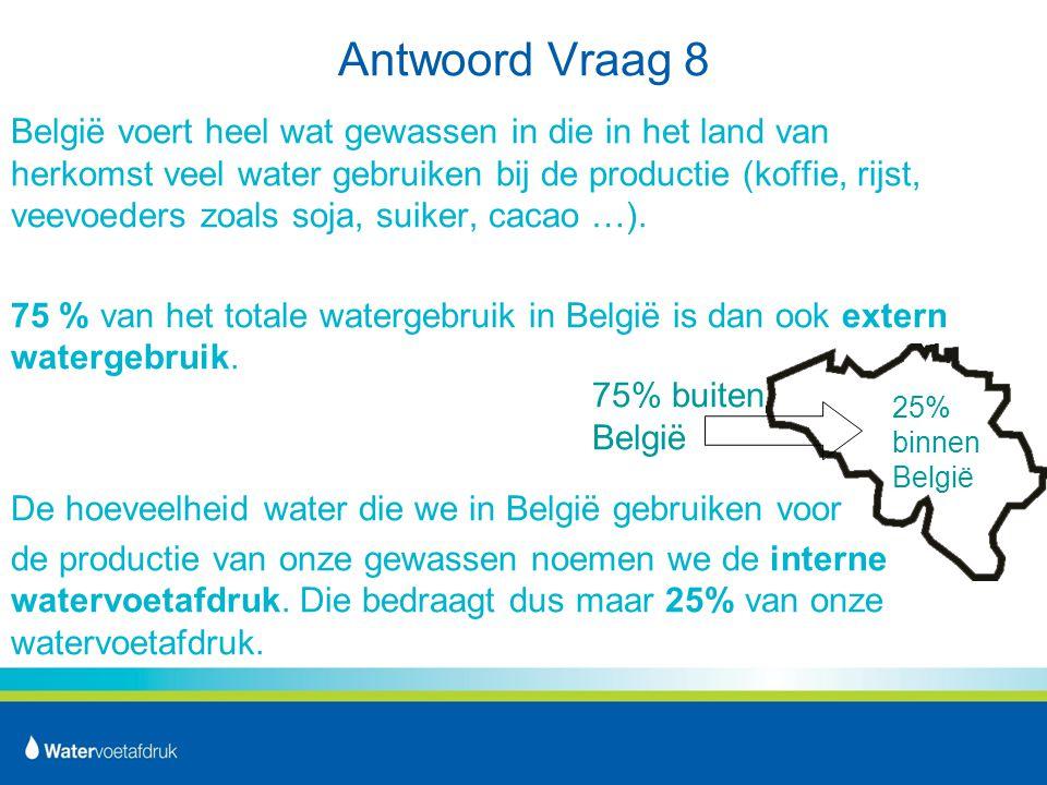Antwoord Vraag 8 België voert heel wat gewassen in die in het land van herkomst veel water gebruiken bij de productie (koffie, rijst, veevoeders zoals soja, suiker, cacao …).