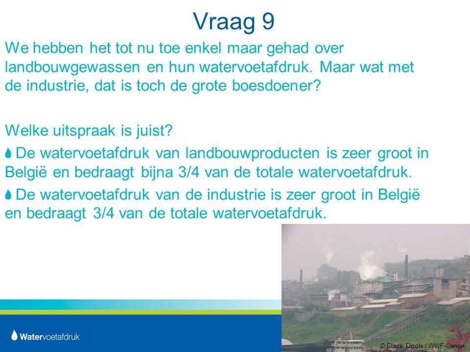 Vraag 9 We hebben het tot nu toe enkel maar gehad over landbouwgewassen en hun watervoetafdruk.