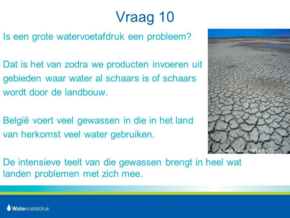 Vraag 10 Is een grote watervoetafdruk een probleem.