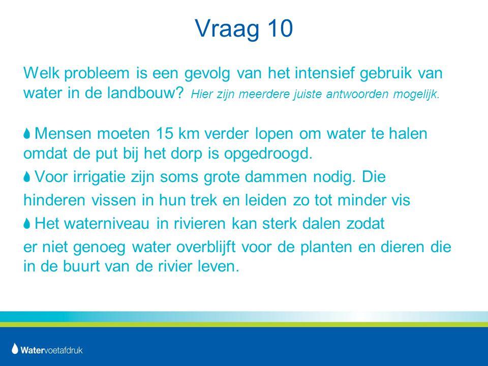 Vraag 10 Welk probleem is een gevolg van het intensief gebruik van water in de landbouw.