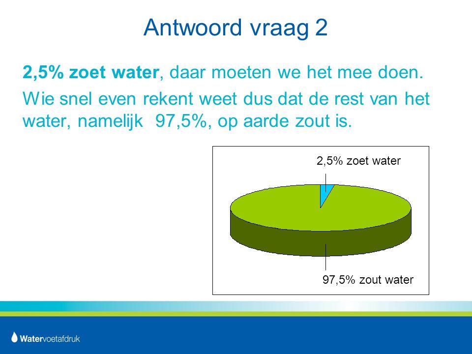Antwoord vraag 2 2,5% zoet water, daar moeten we het mee doen.