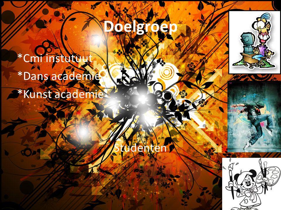 Doelgroep *Cmi instutuut *Dans academie *Kunst academie Studenten