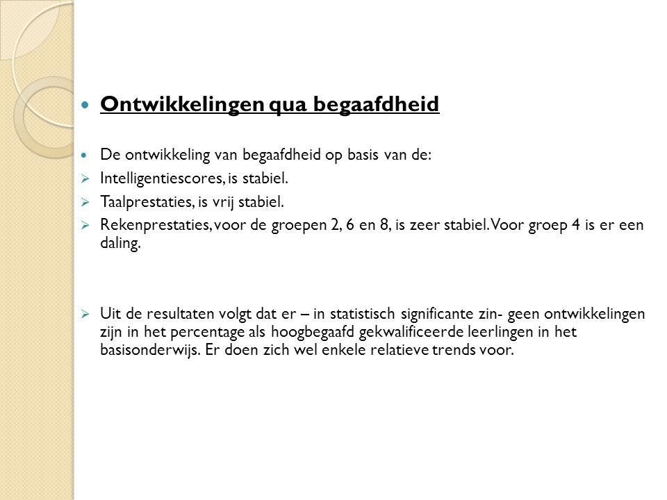 Ontwikkelingen qua begaafdheid De ontwikkeling van begaafdheid op basis van de:  Intelligentiescores, is stabiel.