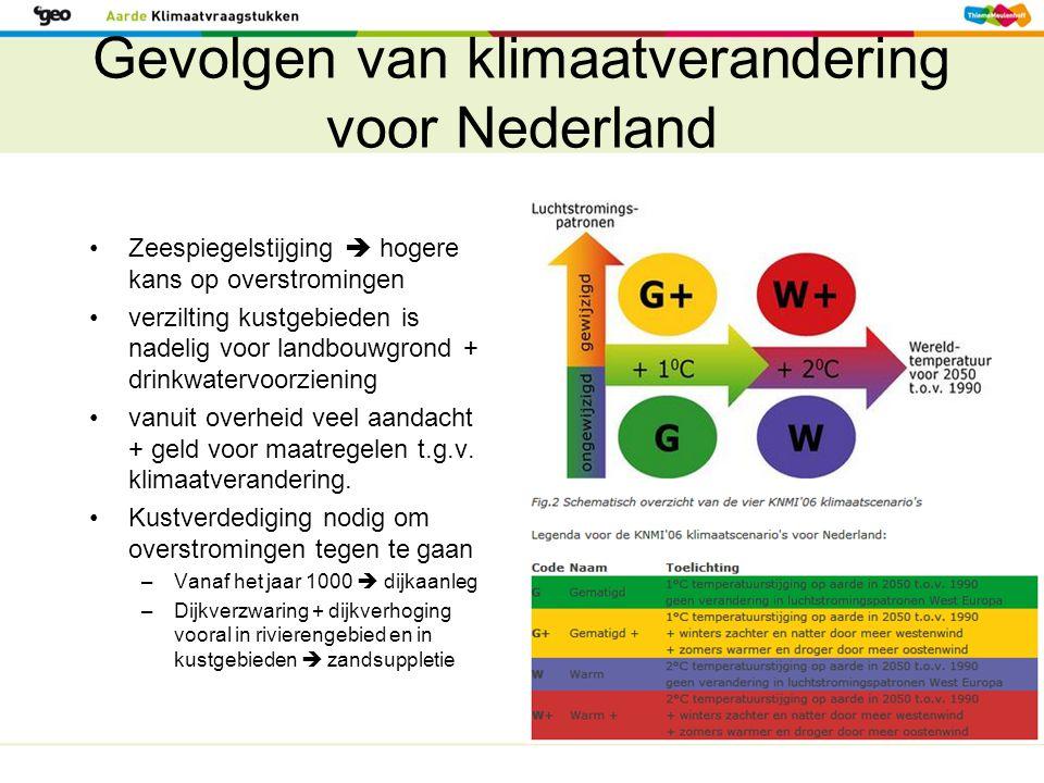 Gevolgen van klimaatverandering voor Nederland Zeespiegelstijging  hogere kans op overstromingen verzilting kustgebieden is nadelig voor landbouwgron