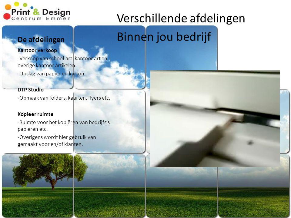 De afdelingen Verschillende afdelingen Binnen jou bedrijf Kantoor verkoop -Verkoop van school art.