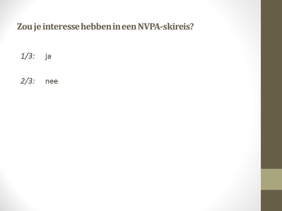 Zou je interesse hebben in een NVPA-skireis 1/3:ja 2/3:nee