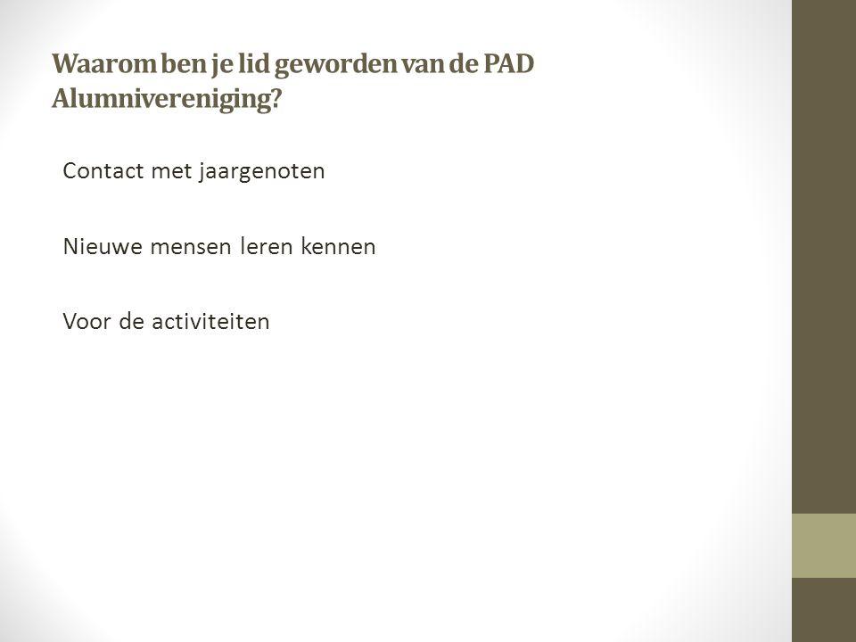 Waarom ben je lid geworden van de PAD Alumnivereniging.