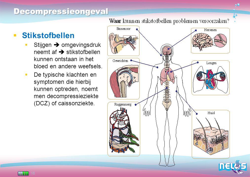 16 Decompressieongeval  Stikstofbellen  Stijgen  omgevingsdruk neemt af  stikstofbellen kunnen ontstaan in het bloed en andere weefsels.  De typi