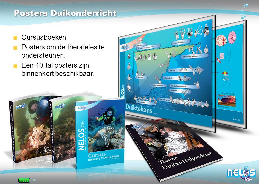 20 Posters Duikonderricht Cursusboeken. Posters om de theorieles te ondersteunen. Een 10-tal posters zijn binnenkort beschikbaar.