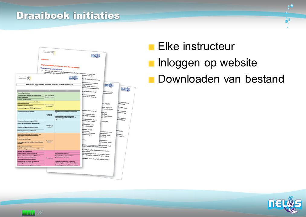22 Draaiboek initiaties Elke instructeur Inloggen op website Downloaden van bestand