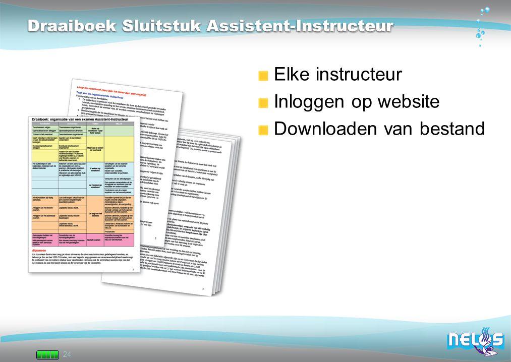 24 Draaiboek Sluitstuk Assistent-Instructeur Elke instructeur Inloggen op website Downloaden van bestand
