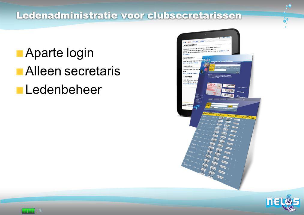 26 Ledenadministratie voor clubsecretarissen Aparte login Alleen secretaris Ledenbeheer