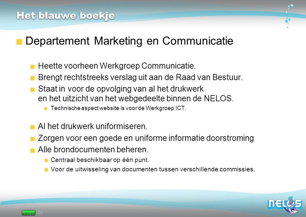 28 Het blauwe boekje Departement Marketing en Communicatie Heette voorheen Werkgroep Communicatie. Brengt rechtstreeks verslag uit aan de Raad van Bes