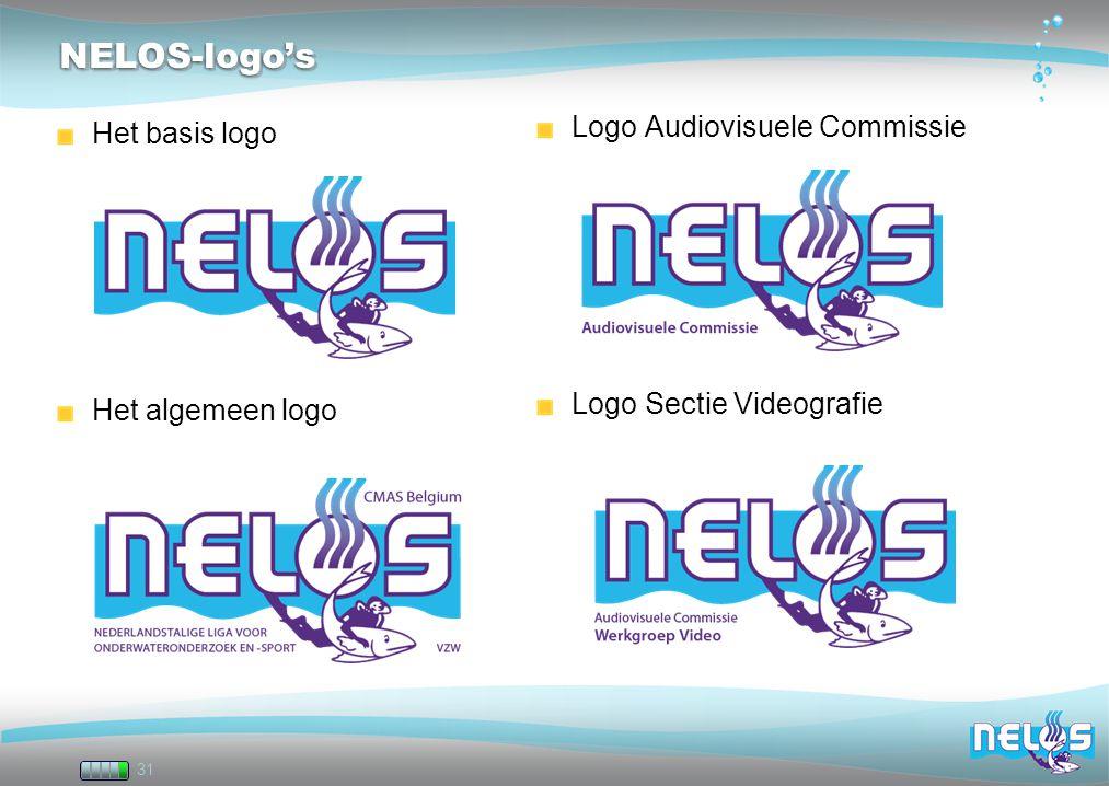 31 NELOS-logo'sNELOS-logo's Het basis logo Het algemeen logo Logo Audiovisuele Commissie Logo Sectie Videografie