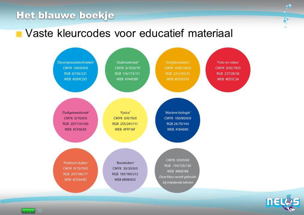 32 Het blauwe boekje Vaste kleurcodes voor educatief materiaal