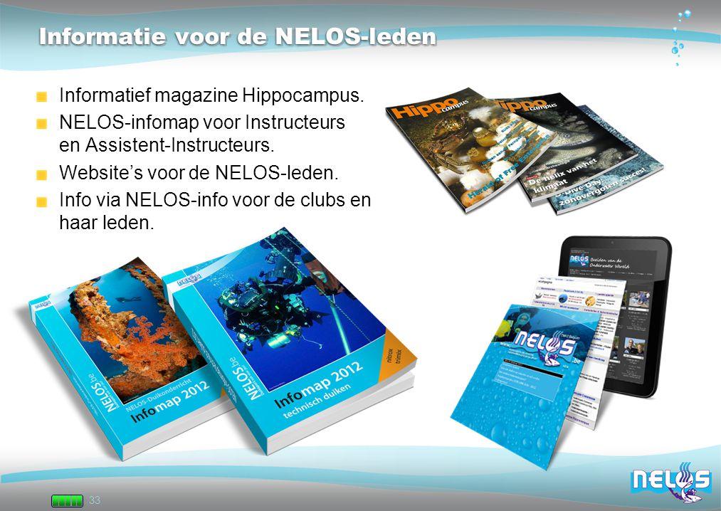 33 Informatie voor de NELOS-leden Informatief magazine Hippocampus. NELOS-infomap voor Instructeurs en Assistent-Instructeurs. Website's voor de NELOS