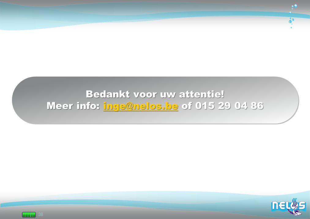 38 Bedankt voor uw attentie! Meer info: inge@nelos.be of 015 29 04 86 inge@nelos.be Bedankt voor uw attentie! Meer info: inge@nelos.be of 015 29 04 86