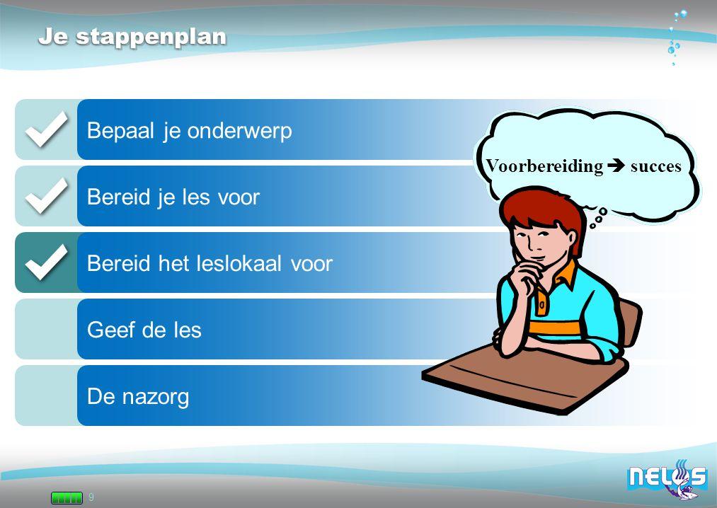 9 Je stappenplan Bepaal je onderwerp Bereid je les voor Bereid het leslokaal voor Geef de les De nazorg Voorbereiding  succes