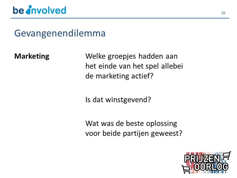 20 Gevangenendilemma MarketingWelke groepjes hadden aan het einde van het spel allebei de marketing actief.