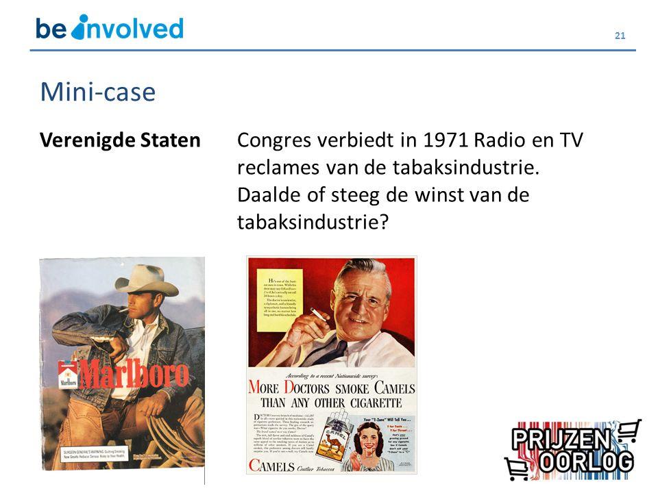 21 Mini-case Verenigde StatenCongres verbiedt in 1971 Radio en TV reclames van de tabaksindustrie. Daalde of steeg de winst van de tabaksindustrie?
