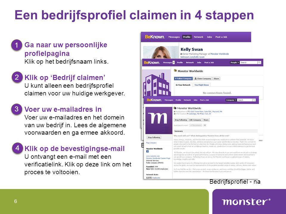 6 Een bedrijfsprofiel claimen in 4 stappen Ga naar uw persoonlijke profielpagina Klik op het bedrijfsnaam links.