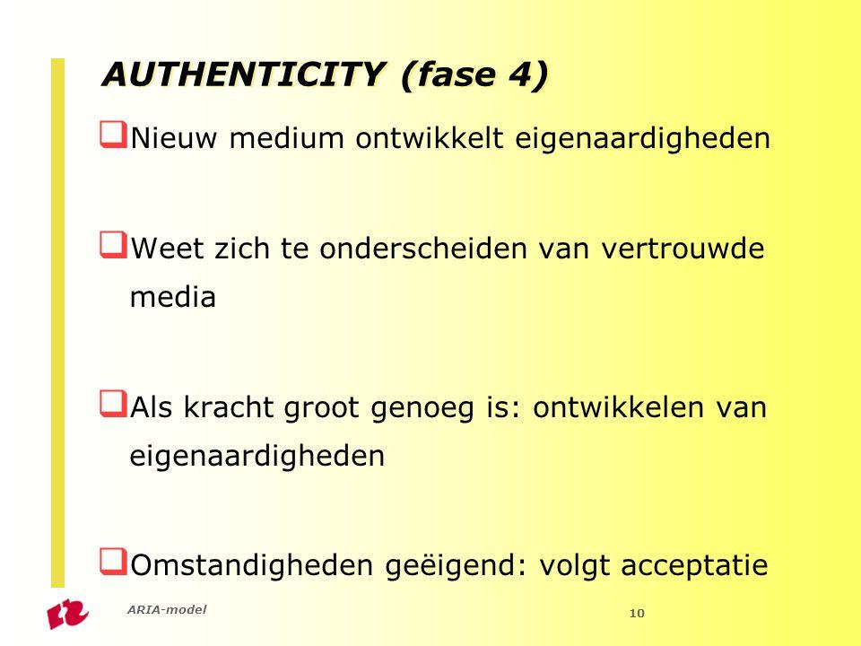 ARIA-model 10 AUTHENTICITY (fase 4)  Nieuw medium ontwikkelt eigenaardigheden  Weet zich te onderscheiden van vertrouwde media  Als kracht groot genoeg is: ontwikkelen van eigenaardigheden  Omstandigheden geëigend: volgt acceptatie