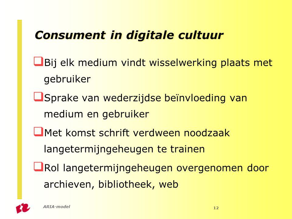 ARIA-model 12 Consument in digitale cultuur  Bij elk medium vindt wisselwerking plaats met gebruiker  Sprake van wederzijdse beïnvloeding van medium