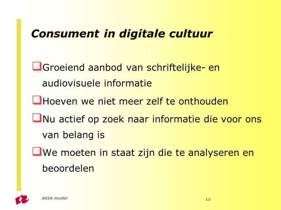 ARIA-model 13  Groeiend aanbod van schriftelijke- en audiovisuele informatie  Hoeven we niet meer zelf te onthouden  Nu actief op zoek naar informatie die voor ons van belang is  We moeten in staat zijn die te analyseren en beoordelen Consument in digitale cultuur