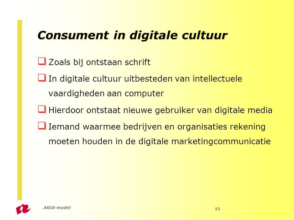 ARIA-model 15 Consument in digitale cultuur  Zoals bij ontstaan schrift  In digitale cultuur uitbesteden van intellectuele vaardigheden aan computer  Hierdoor ontstaat nieuwe gebruiker van digitale media  Iemand waarmee bedrijven en organisaties rekening moeten houden in de digitale marketingcommunicatie