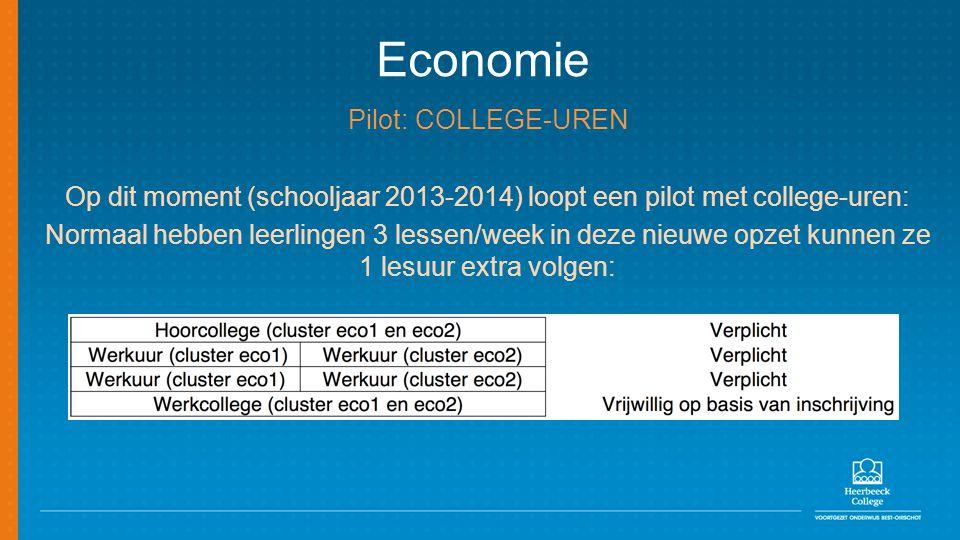 Economie Pilot: COLLEGE-UREN Op dit moment (schooljaar 2013-2014) loopt een pilot met college-uren: Normaal hebben leerlingen 3 lessen/week in deze ni