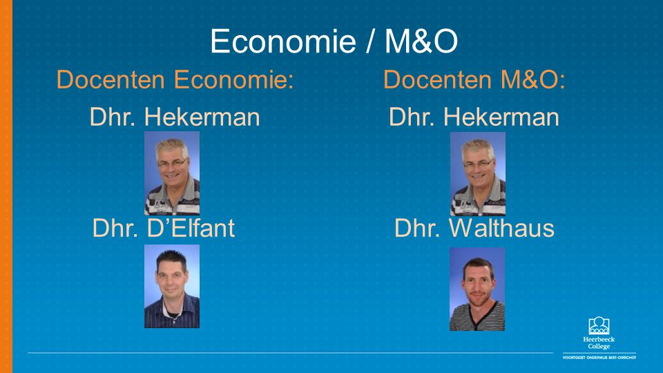 Economie / M&O Docenten Economie: Dhr. Hekerman Dhr. D'Elfant Docenten M&O: Dhr. Hekerman Dhr. Walthaus