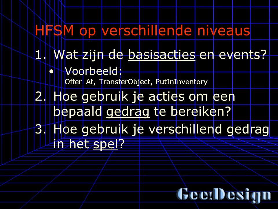 HFSM op verschillende niveaus 1.Wat zijn de basisacties en events.