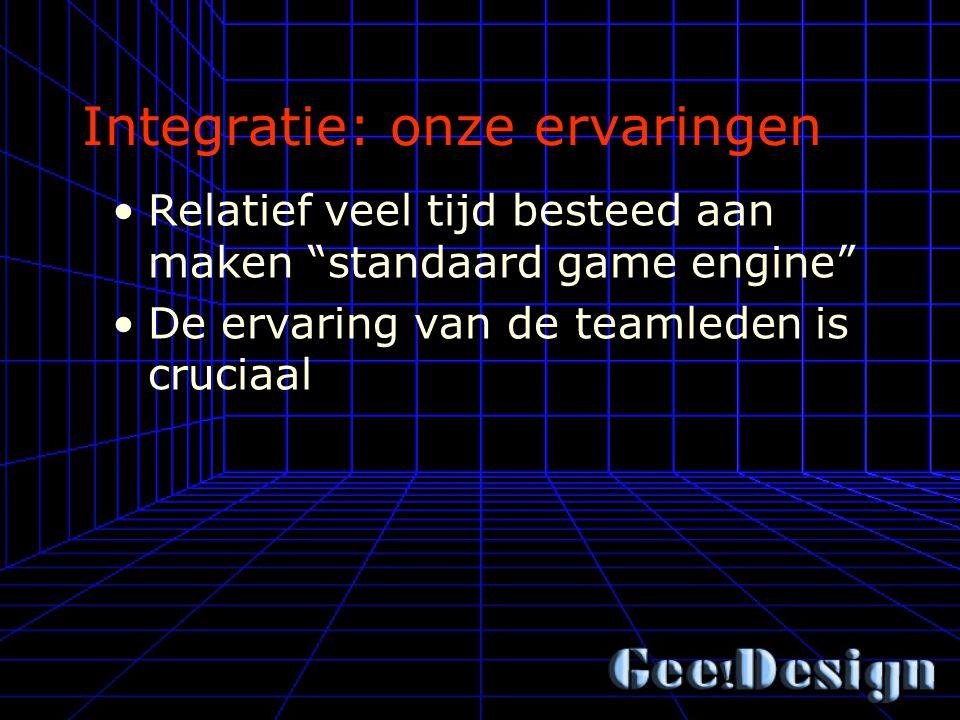 Integratie: onze ervaringen Relatief veel tijd besteed aan maken standaard game engine De ervaring van de teamleden is cruciaal