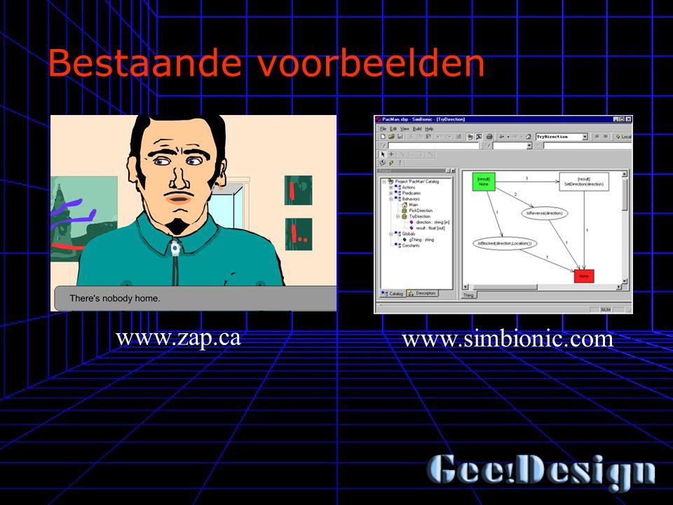Bestaande voorbeelden www.zap.ca www.simbionic.com