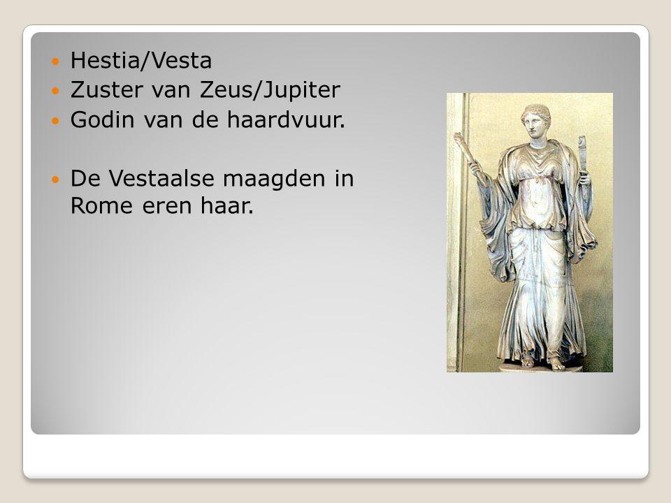 Hestia/Vesta Zuster van Zeus/Jupiter Godin van de haardvuur. De Vestaalse maagden in Rome eren haar.