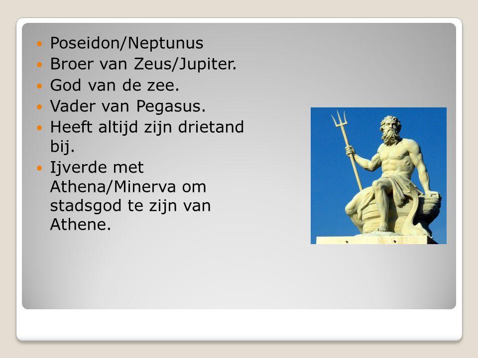 Poseidon/Neptunus Broer van Zeus/Jupiter. God van de zee. Vader van Pegasus. Heeft altijd zijn drietand bij. Ijverde met Athena/Minerva om stadsgod te