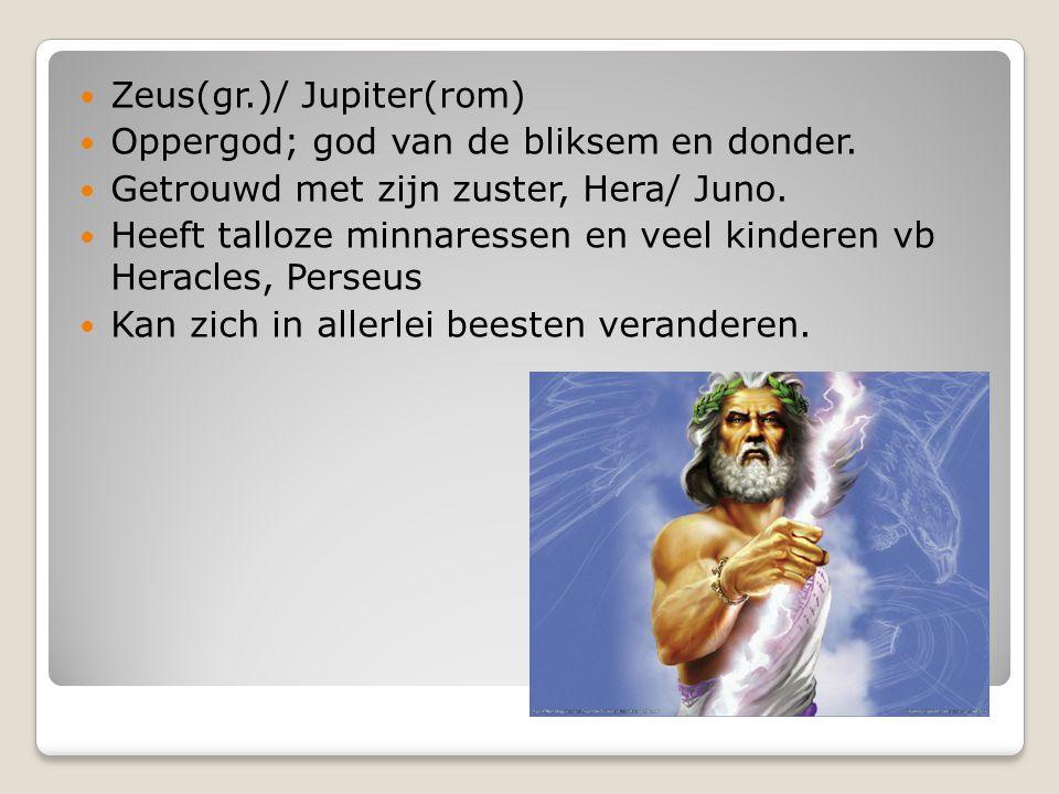 Poseidon/Neptunus Broer van Zeus/Jupiter.God van de zee.