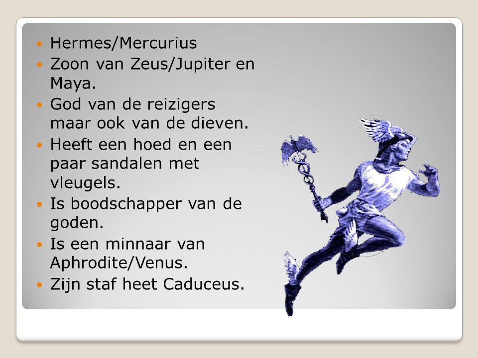 Hermes/Mercurius Zoon van Zeus/Jupiter en Maya. God van de reizigers maar ook van de dieven. Heeft een hoed en een paar sandalen met vleugels. Is bood