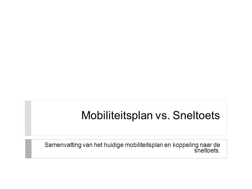 Mobiliteitsplan vs. Sneltoets Samenvatting van het huidige mobiliteitsplan en koppeling naar de sneltoets.