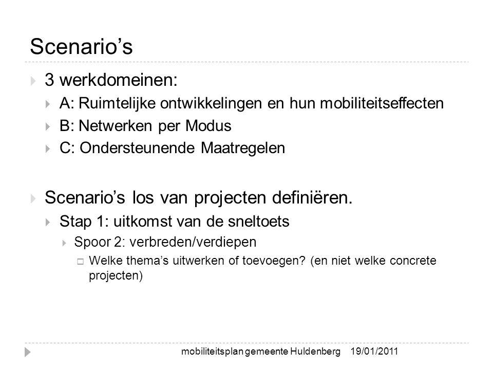 Scenario's  3 werkdomeinen:  A: Ruimtelijke ontwikkelingen en hun mobiliteitseffecten  B: Netwerken per Modus  C: Ondersteunende Maatregelen  Scenario's los van projecten definiëren.