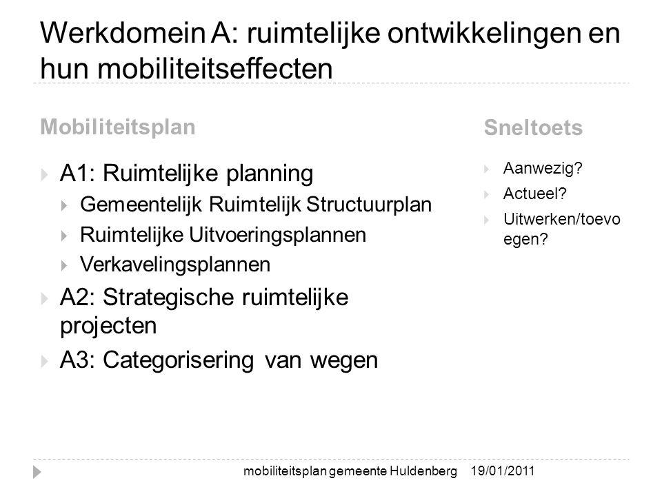 Werkdomein A: ruimtelijke ontwikkelingen en hun mobiliteitseffecten Mobiliteitsplan Sneltoets  A1: Ruimtelijke planning  Gemeentelijk Ruimtelijk Structuurplan  Ruimtelijke Uitvoeringsplannen  Verkavelingsplannen  A2: Strategische ruimtelijke projecten  A3: Categorisering van wegen  Aanwezig.