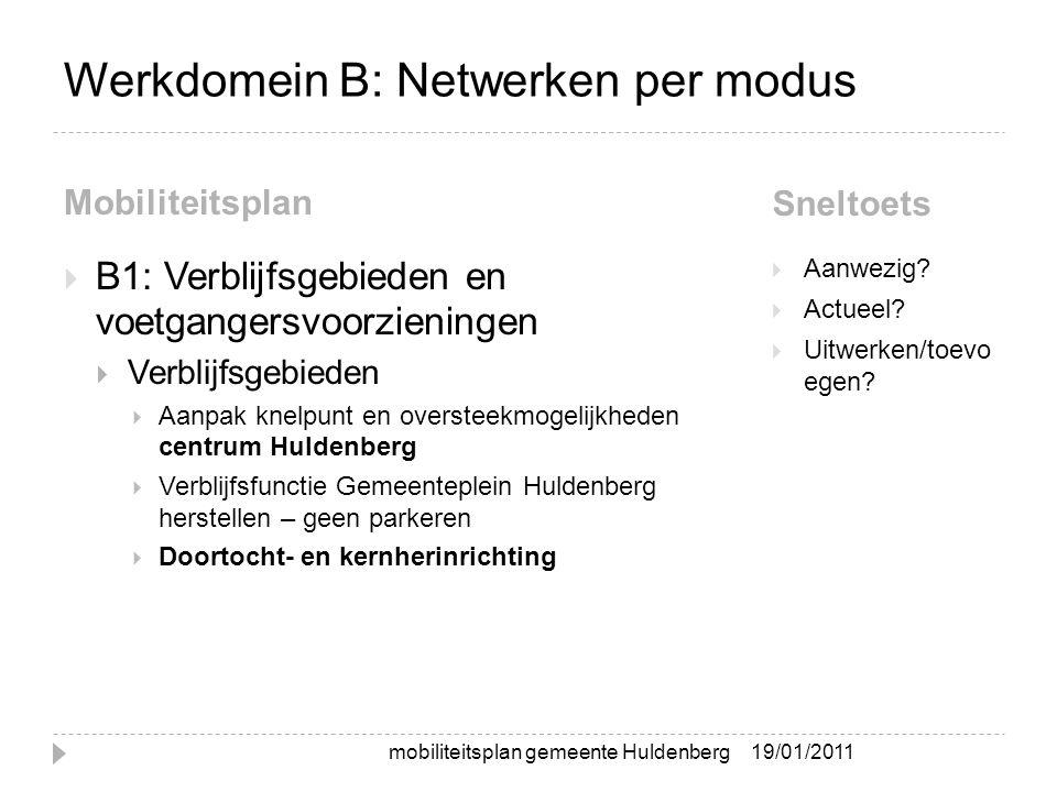 Werkdomein B: Netwerken per modus Mobiliteitsplan Sneltoets  B1: Verblijfsgebieden en voetgangersvoorzieningen  Verblijfsgebieden  Aanpak knelpunt