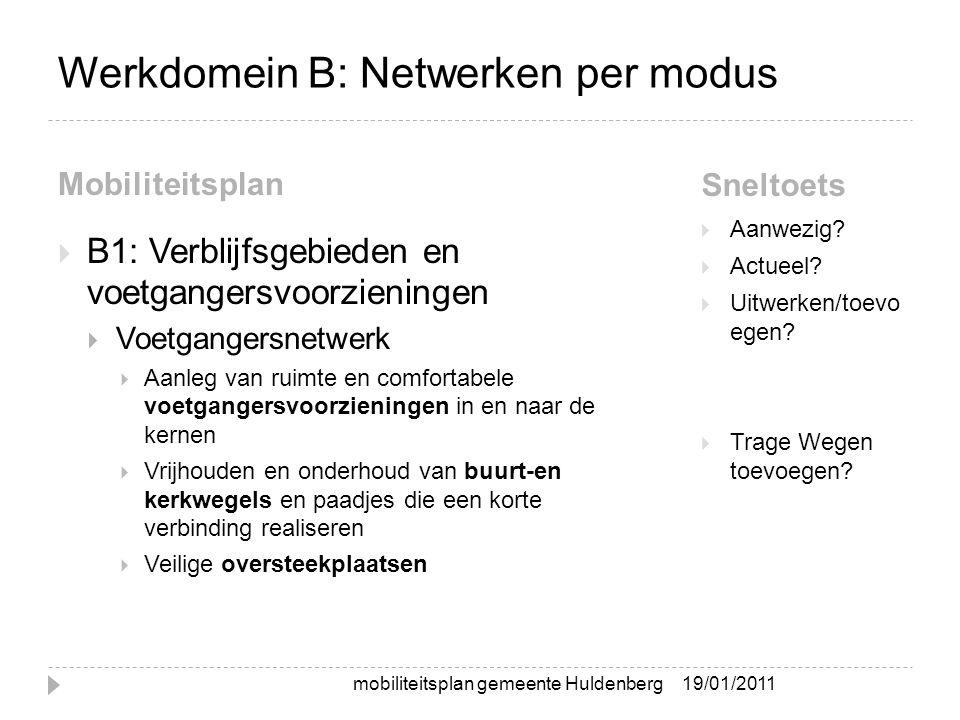 Werkdomein B: Netwerken per modus Mobiliteitsplan Sneltoets  B1: Verblijfsgebieden en voetgangersvoorzieningen  Voetgangersnetwerk  Aanleg van ruim