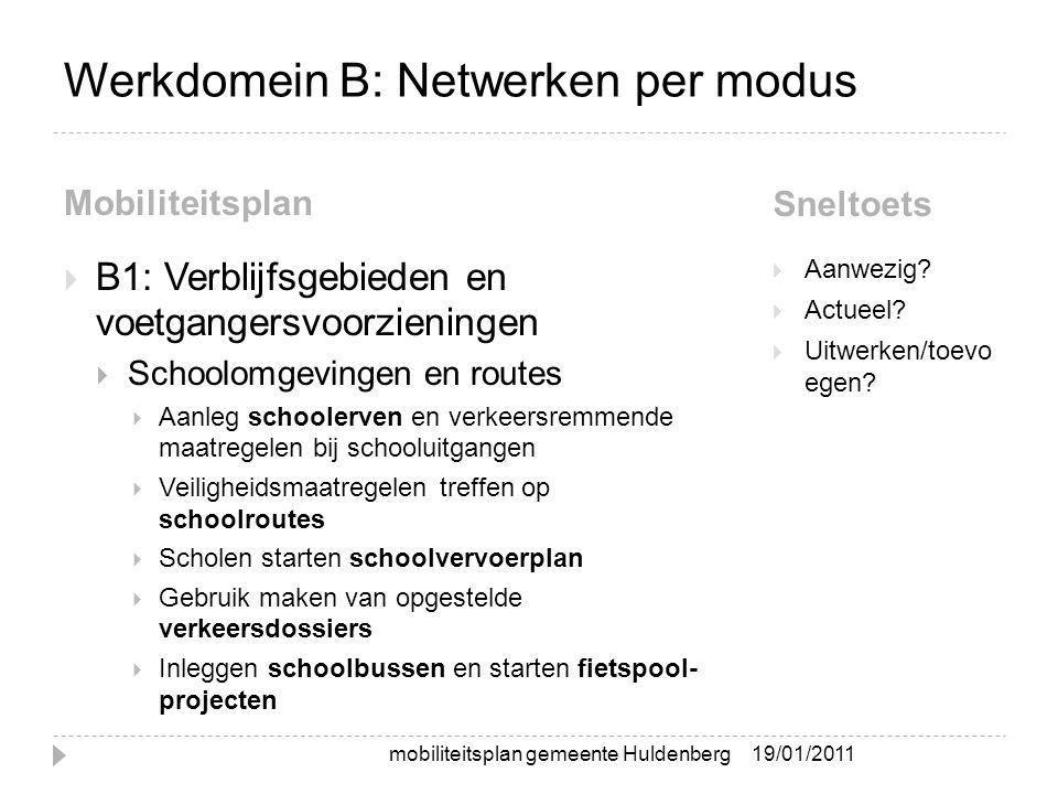 Werkdomein B: Netwerken per modus Mobiliteitsplan Sneltoets  B1: Verblijfsgebieden en voetgangersvoorzieningen  Schoolomgevingen en routes  Aanleg