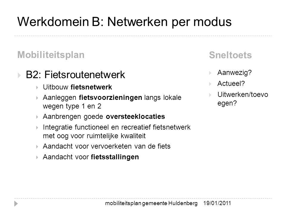 Werkdomein B: Netwerken per modus Mobiliteitsplan Sneltoets  B2: Fietsroutenetwerk  Uitbouw fietsnetwerk  Aanleggen fietsvoorzieningen langs lokale