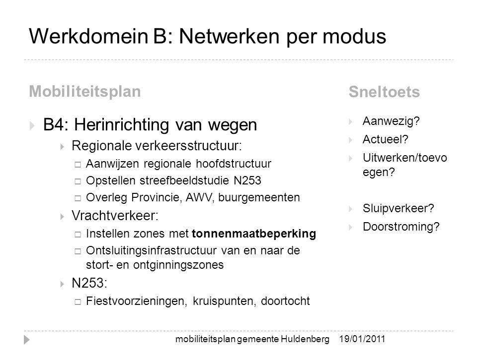 Werkdomein B: Netwerken per modus Mobiliteitsplan Sneltoets  B4: Herinrichting van wegen  Regionale verkeersstructuur:  Aanwijzen regionale hoofdst