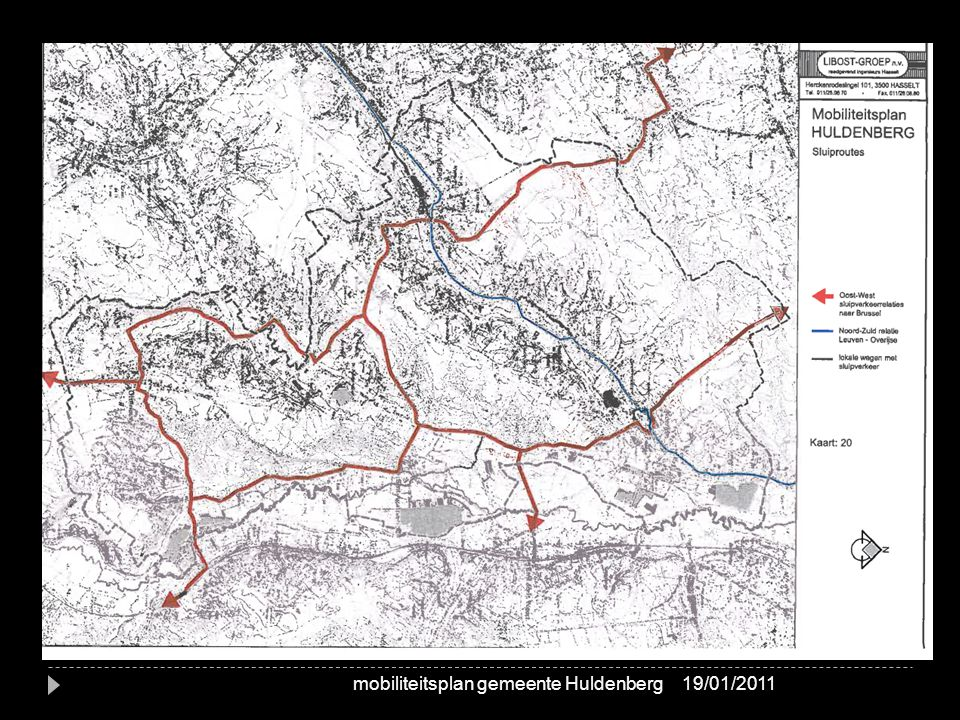 Werkdomein B: Netwerken per modus sluiproutes 19/01/2011mobiliteitsplan gemeente Huldenberg