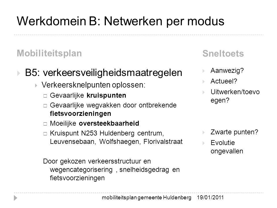 Werkdomein B: Netwerken per modus Mobiliteitsplan Sneltoets  B5: verkeersveiligheidsmaatregelen  Verkeersknelpunten oplossen:  Gevaarlijke kruispun