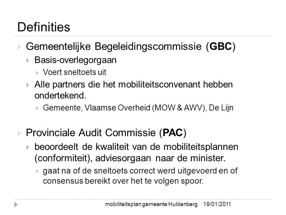 Definities  Gemeentelijke Begeleidingscommissie (GBC)  Basis-overlegorgaan  Voert sneltoets uit  Alle partners die het mobiliteitsconvenant hebben ondertekend.